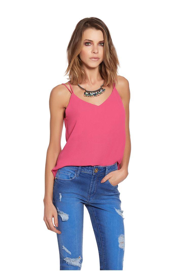 Top Silky Crepe Tiras Pink - 42