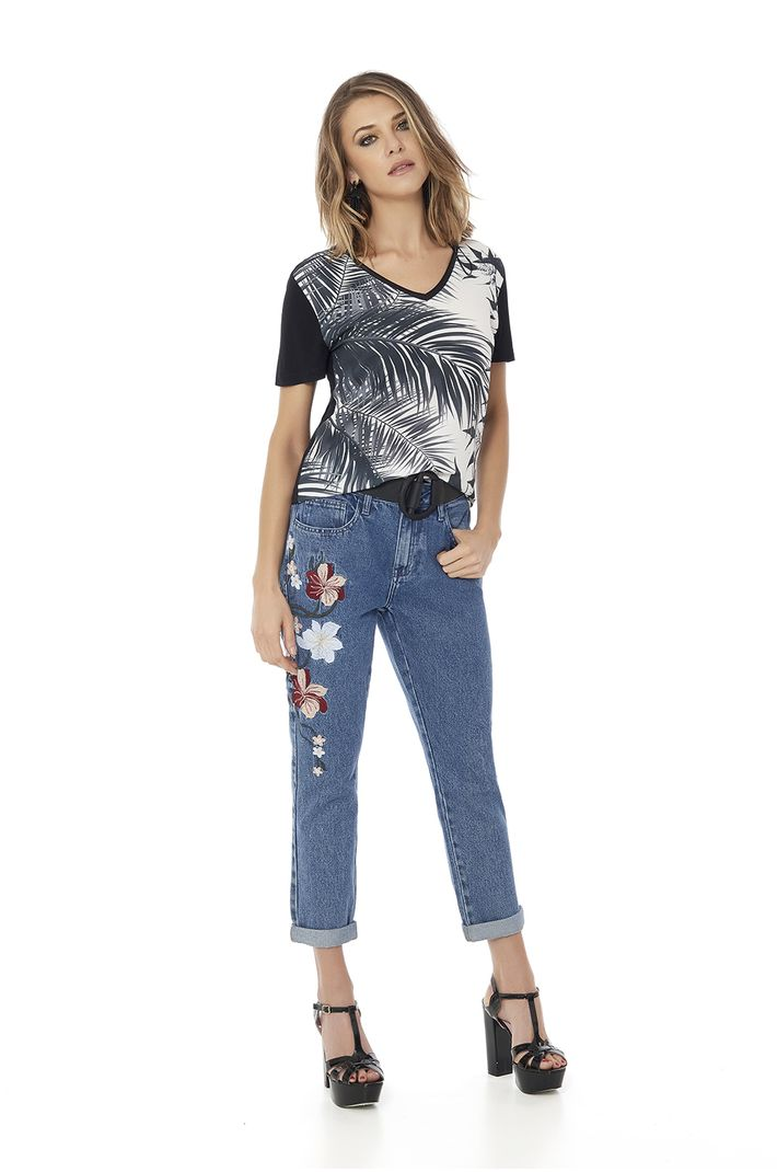 Calça Jeans Girlfriend Bordado - 36