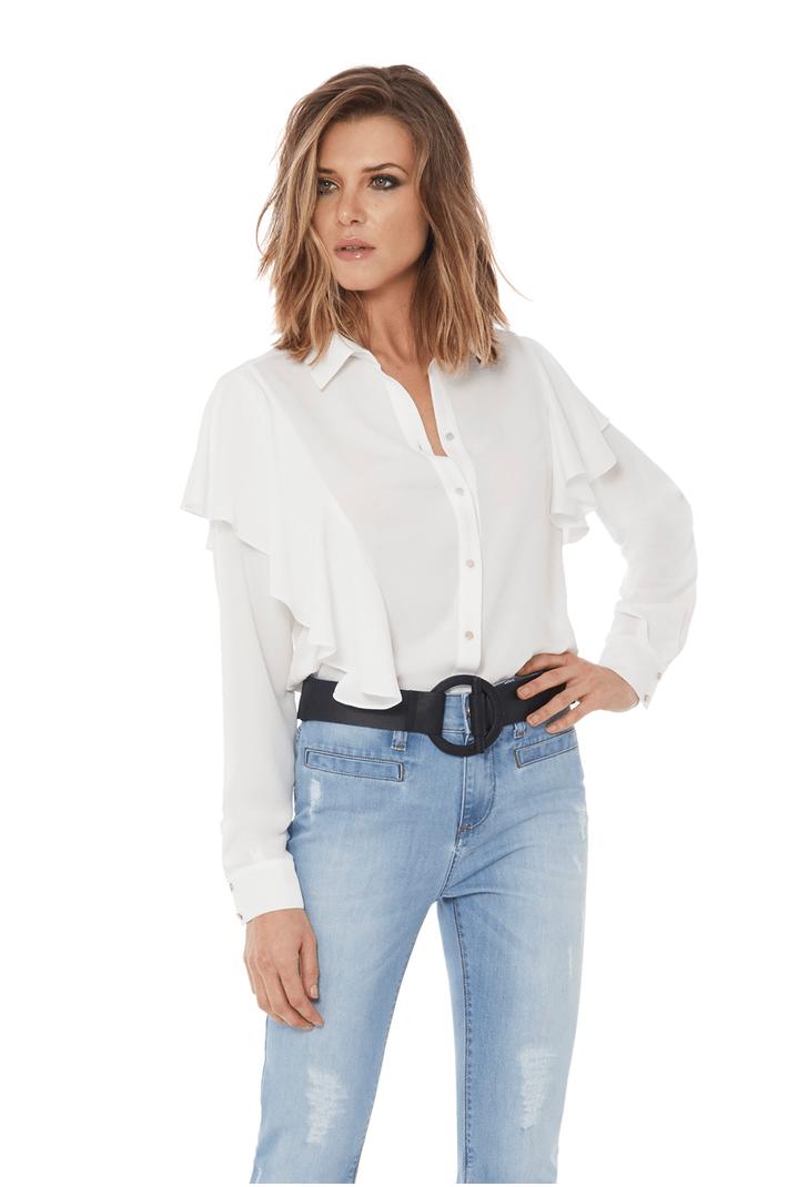Camisa Abertura Ombros Manga Branca - 44