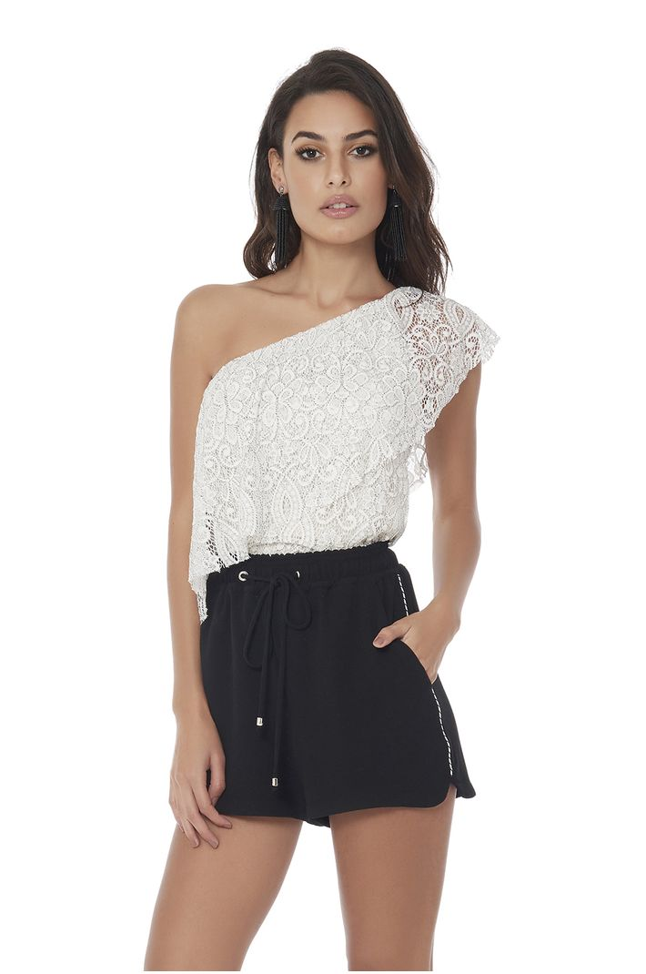 Top Black N White Lace - M