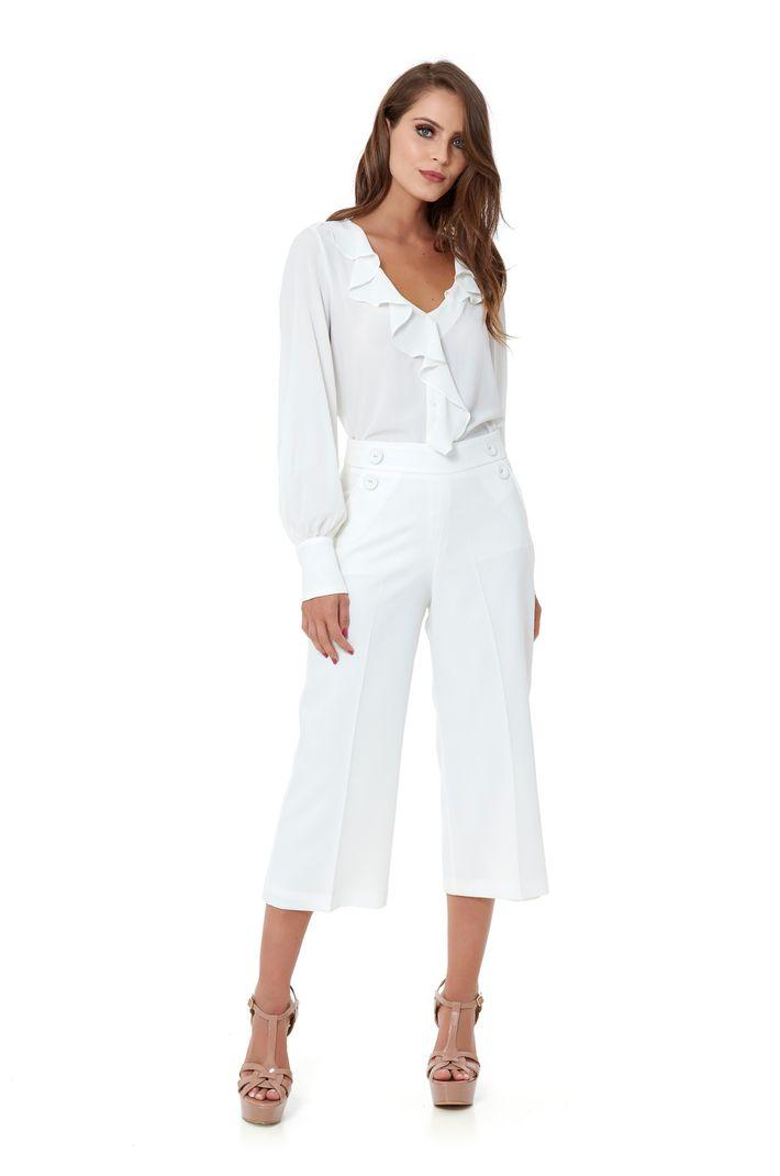 Camisa Babados Silk Crepe - 36