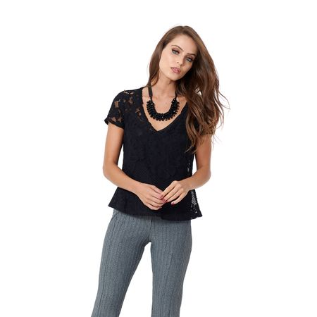 TOP FLORAL LACE CAMISETA