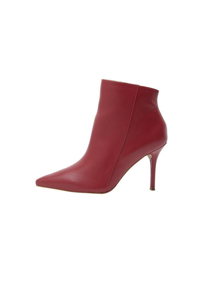 Ankle Boot Bico Fino Vermelho - 34