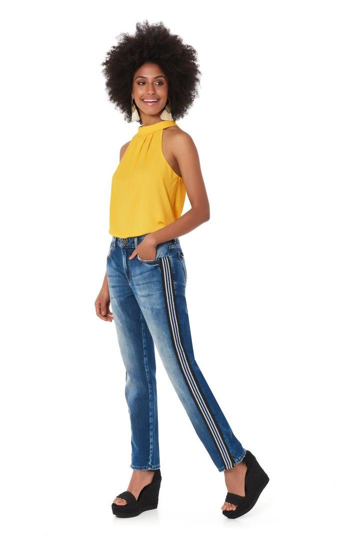 Calça Jeans Girlfriend Faixa Lateral - 44