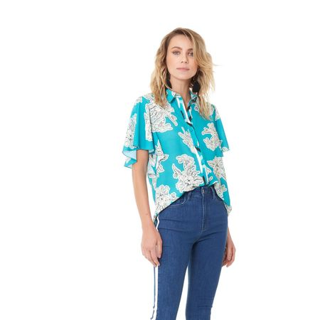 CAMISA BLUE BOTANICAL