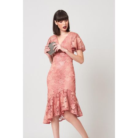 VESTIDO MIDI LUREX LACE ROSE