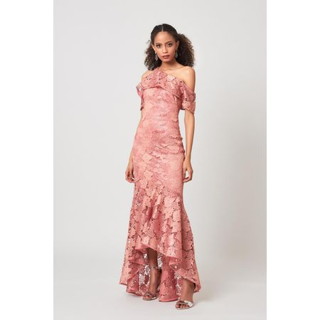 VESTIDO LONGO LUREX LACE ROSE